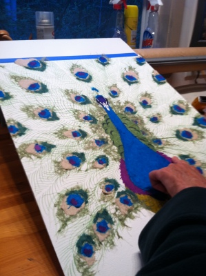 Paper Peacock in Process